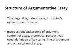 types of academic writing structure of argumentative essay