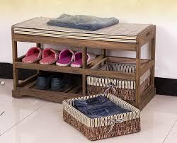 Buy Wooden Shoe Rack With Two <b>Storage</b> Basket <b>Paulownia Solid</b> ...