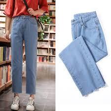 Korean <b>Women Loose</b> High waist <b>Wide leg</b> pants fashion Jeans ...