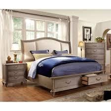 piece emmaline upholstered panel bedroom: furniture of america minka iv rustic grey  piece bedroom set