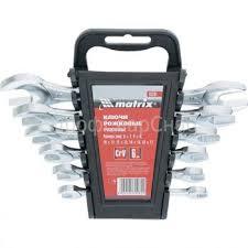 <b>Набор ключей рожковых</b>, 6 -17 мм, 6 шт, CrV, хромированные ...
