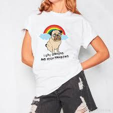 H560 Summer Women Short Sleeve T shirt Funny <b>Rainbow Pug</b> ...