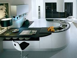 modular kitchen colors: amusing modular kitchen design ideas with curved shape black white colors cabinets and color countertops also double bo