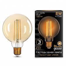 Светодиодная <b>лампа GAUSS 105802008 FILAMENT</b> GLOBE ...