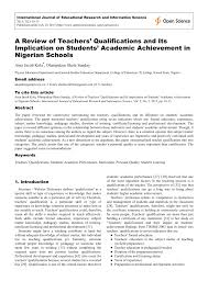 academic paper pdf a review of teachers qualifications and its academic paper pdf a review of teachers qualifications and its implication on students academic achievement in ian schools