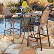 wrought iron patio bistro set woodard patio  panama jack island cove woven slatted bar height patio pub tabl
