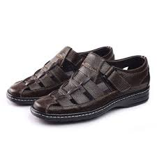 2017 New <b>Men Sandals</b> Made of Leather Black Brown <b>Hand Sewing</b> ...