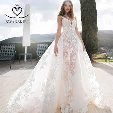 Swanskirt Graceful Boat Neck Appliques A Line Wedding Dresses ...