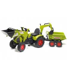 <b>Трактор</b>-<b>экскаватор Falk педальный</b> с прицепом зеленый 225 см ...