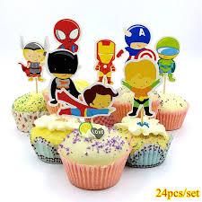 <b>24pcs</b> Captain America Superman Spiderman Batman <b>Superhero</b> ...