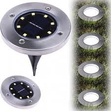 <b>8 LED Solar</b> Power Buried Light Ground Lamp <b>Outdoor</b> Path Way ...
