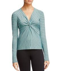 Bailey 44 Tops <b>V Neck</b> Cross Over Tie Front <b>Long Sleeve</b> Ribbed ...