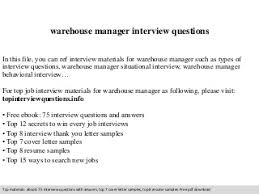 warehouse manager   linkedinwarehouse manager interview questions