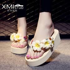 High quality fashion non slip thick <b>flat bottomed slope</b> beach flowers ...