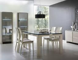 black and white dining table set: modern white dining set with glass top dining table and black drum shade pendant lamp