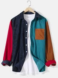 Mens corduroy <b>solid color patchwork</b> lapel pocket long sleeve shirts ...