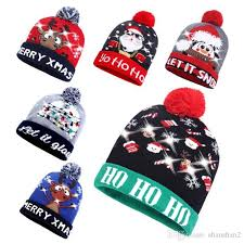 New <b>Style Christmas Hat</b> Halloween LED Hat With Lamp Knitted Hat ...