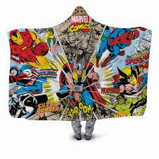 Marvel Comics, 3D принт, плюшевое одеяло с капюшоном ...