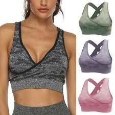 Womens Yoga Bras <b>Workout Fitness Sports</b> Bra Seamless Running ...