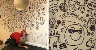 9-Year-Old Kid Invited to Create Doodle Mural <b>Art</b> in Local Restaurant