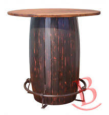 rustic jacob wood top bistro table base barrel shaped metal footrest lodge authentic jim beam whiskey barrel table