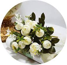 Zalin 13Heads Silk Artificial Peony Fake Flowers <b>Small Rose</b> Tea ...