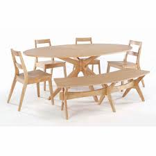 astounding simplistic oval dining table with bench and 4 chairs oak woods materials with white background chic teak furniture