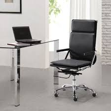 white brick wall idea and modern black leather office chair feat sleek small desk design black leather office design