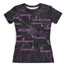 Футболка с полной запечаткой (женская) <b>Московская область</b> ...