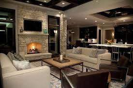 living room excellent stone fireplace wall with flatscreen tv niche transitional living image of fresh on chic cozy living room furniture