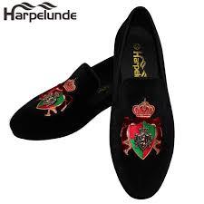 <b>Harpelunde</b> Slip On <b>Men Dress Shoes</b> Bullion Green Velvet Loafers ...