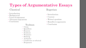 argumentative essay take notes  types of argumentative essays    types of argumentative essays classical ï'Â  introduction ï'Â  background ï'Â  lines of argument ï'Â  alternate arguments