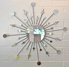 mirror wall decor circle panel: home decoration inspiring decorative round wall mirrors with starburst wall decor and white painted brick