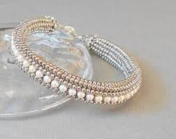 White pearl bracelet, <b>silver seed bead</b> bracelet, beaded bracelet ...