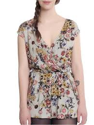 LaVieLente <b>Floral Romper</b> with Waistband and a <b>Cute</b> Cross Front ...