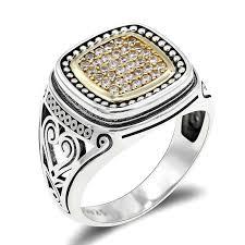<b>New Arrival 925 Sterling</b> Silver Men Ring Simple Elegant Gold Color ...