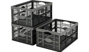 Buy Argos Home 32 Litre <b>Plastic Folding Storage Crates</b>- Set of 3 ...