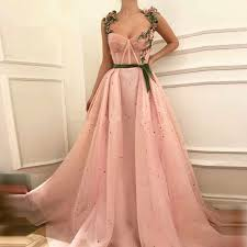 <b>Pink Muslim Evening Dresses</b> 2019 A line Sweetheart Tulle Pearls ...