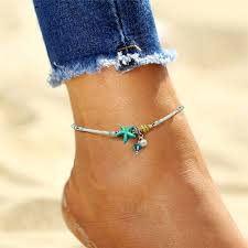 <b>Bohemian Cowrie Shell</b> Starfish <b>Anklet</b> with Handmade Beads ...