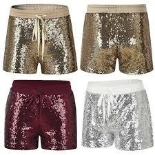 <b>Women Glitter Sequin</b> Shorts Drawstring Elastic Waist Casual ...