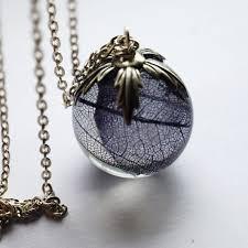 Real Leaf <b>Necklace</b> Resin Jewelry 01 Globe <b>Orb</b> Pendant Statement ...