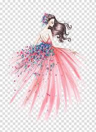 <b>Fashion</b> illustration Drawing Art Sketch, <b>Fashion Girl</b>, woman in <b>pink</b> ...