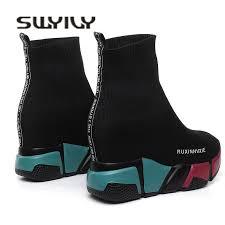 <b>SWYIVY Sock Boots Woman</b> Hided Wedge Platform Female Casual ...