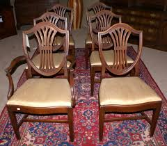 hepplewhite shield dining chairs set: height   quot depth   quot width quot set of  solid mahogany shield back dining room chairs with fan backs cross stretcher base and hepplewhite