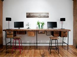 rustic reclaimed wood computer desk with black iron pipe legs with computer desks plus narrow computer awesome office narrow long computer desk