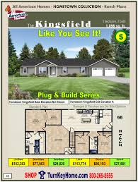 KINGSFIELD All American Home Ranch Hometown Collection Plan PriceModular Home All American Homes Hometown Collection KINGSFIELD Plans Price  MORE HERE