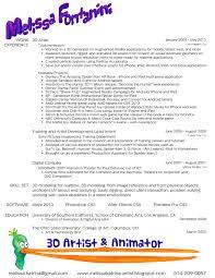 melissa fontanini d artist d artist animator resume  3d artist animator resume 2013