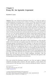 essay an agnostic argument springer inside