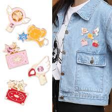 5pcs Anime <b>Card Captor Sakura Star Wand</b> Key Enamel Badge Pin ...