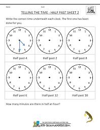 Telling Time Worksheets - O'clock and Half pastfirst grade math worksheet telling the time half past 2